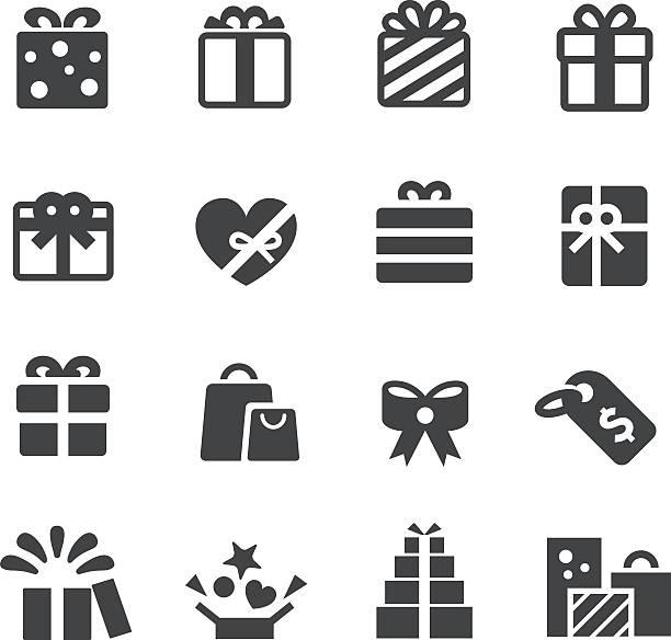 подарки значки серии-acme - gift stock illustrations