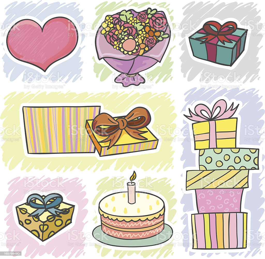 Gifts icons in cartoon style royalty-free gifts icons in cartoon style stock vector art & more images of birthday