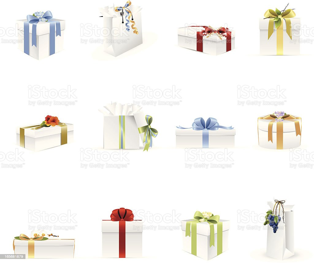 Gifts & Presents Icons vector art illustration