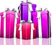 Vector illustration of purple gifts.