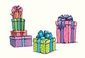 Gifts. Contains transparent objects. EPS10