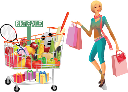 Gifts Vegetables And Fruits In Shopping Trolley With Lady