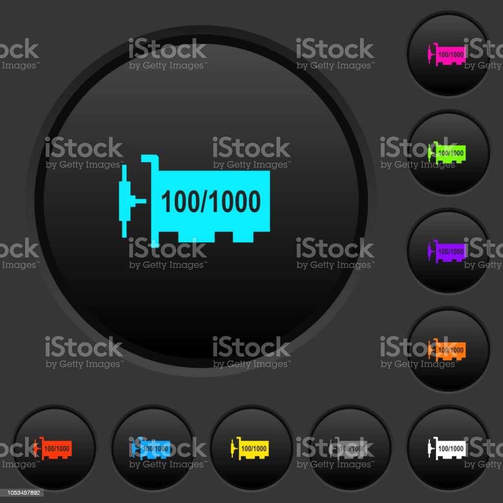 Gigabit Ethernet Network Controller Dark Push Buttons With Color Icons Royalty Free