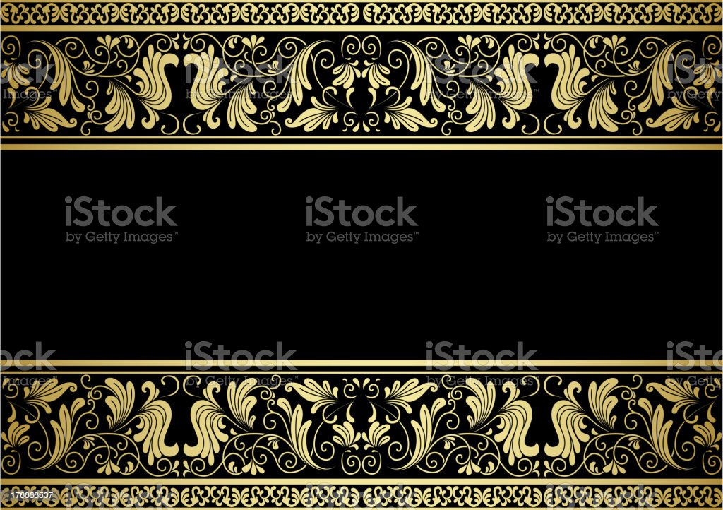 Marco dorado con elementos decorativos ilustración de marco dorado con elementos decorativos y más banco de imágenes de arabesco - diseño libre de derechos