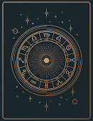 Gilded retro line art astrology signs poster vertical composition with copy space and text