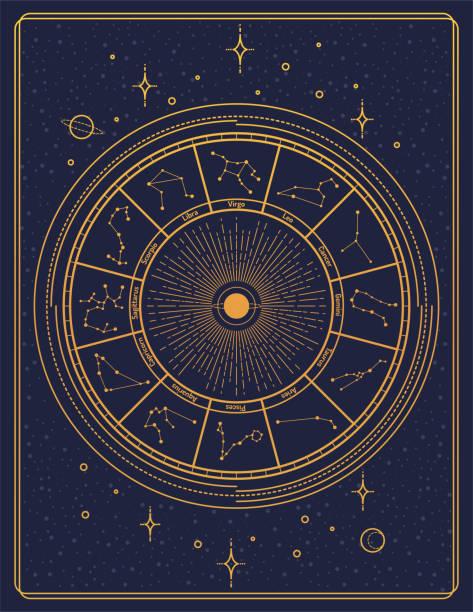 ilustrações de stock, clip art, desenhos animados e ícones de gilded retro style zodiac sign constellation poster - astrologia