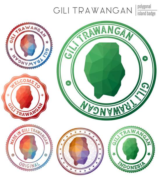 Gili Trawangan badge. Gili Trawangan badge. Colorful polygonal island symbol. Multicolored geometric Gili Trawangan logos set. Vector illustration. lagbok stock illustrations