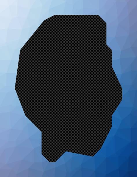 Gili Trawangan geometric map. Gili Trawangan geometric map. Stencil shape of Gili Trawangan in low poly style. Vibrant island vector illustration. lagbok stock illustrations