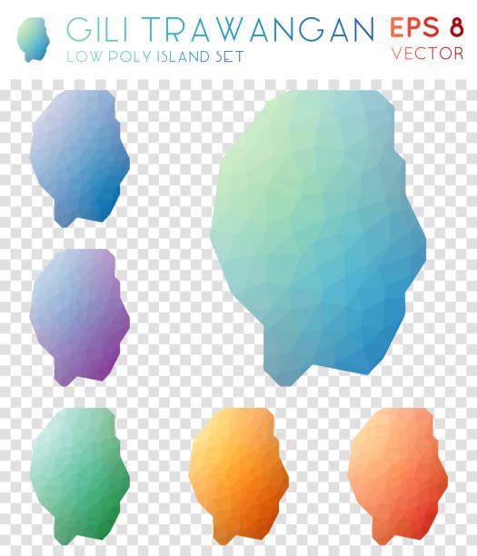 gili trawangan geometrische polygonale karten, mosaik-stil inselsammlung. - lombok stock-grafiken, -clipart, -cartoons und -symbole