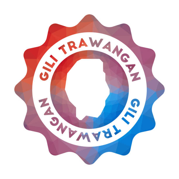 Gili Trawangan low poly logo. Gili Trawangan low poly logo. Colorful gradient travel logo of the island in geometric style. Multicolored polygonal Gili Trawangan rounded sign with map for your infographics. lagbok stock illustrations