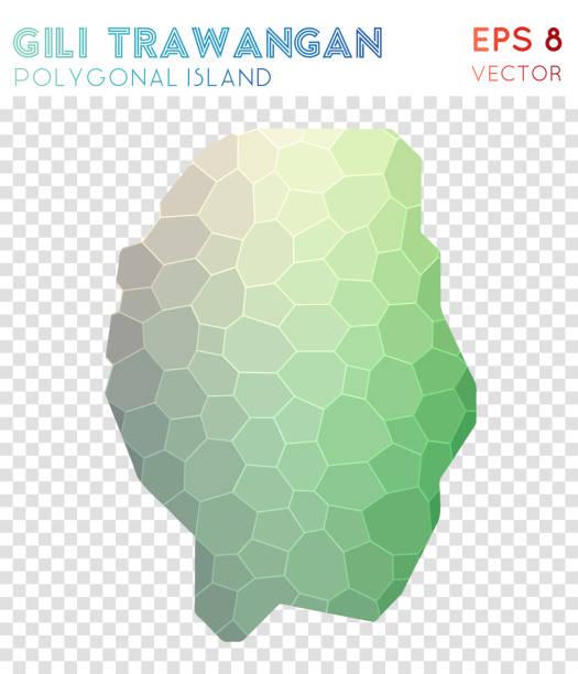 gili trawangan polygonale karte, mosaik-stil insel. - lombok stock-grafiken, -clipart, -cartoons und -symbole