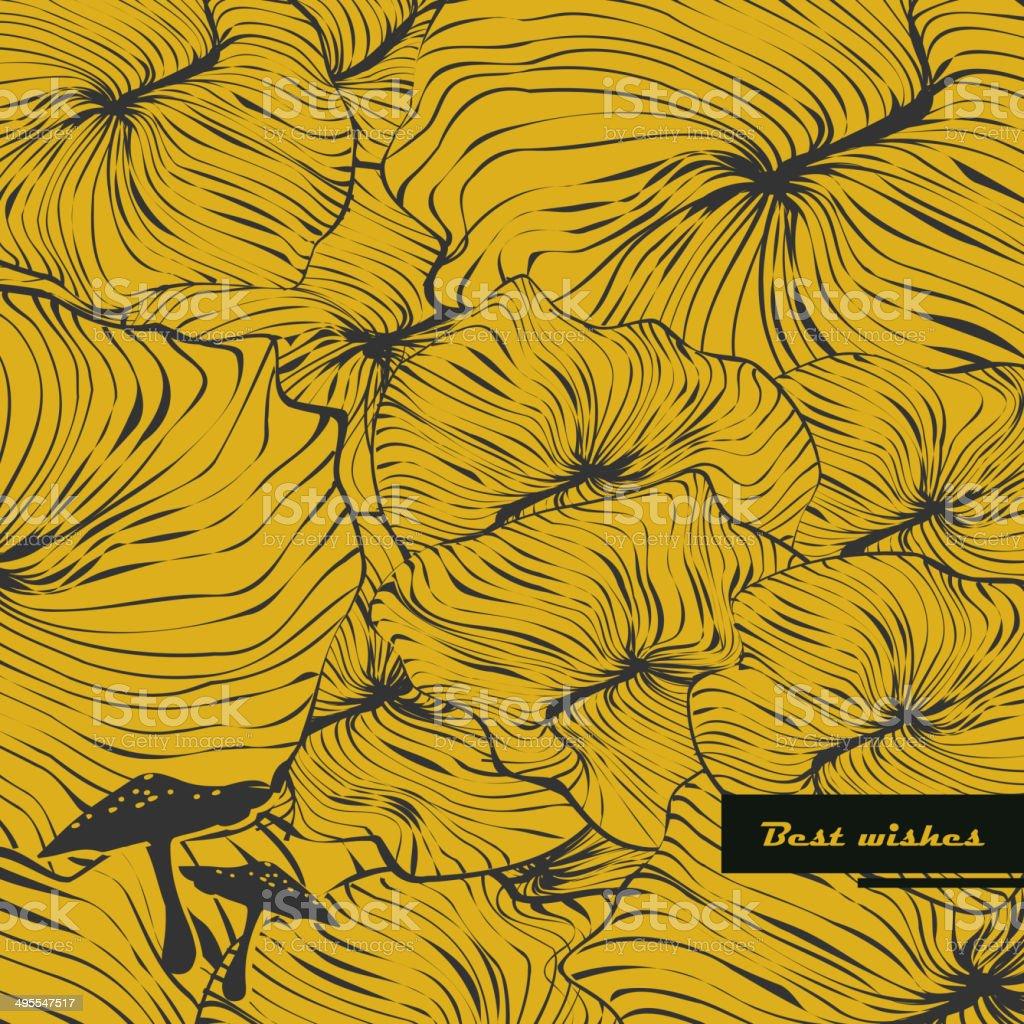 Gill fungus pattern background vector art illustration