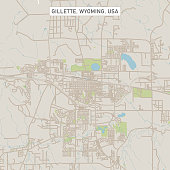 Gillette Wyoming US City Street Map