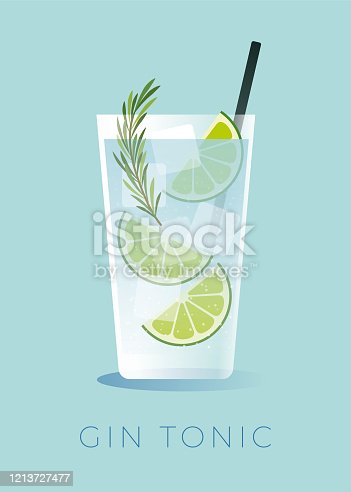 A simple cocktail made with gin and tonic water poured over ice, then garnished with a lime wheel. Stock illustration