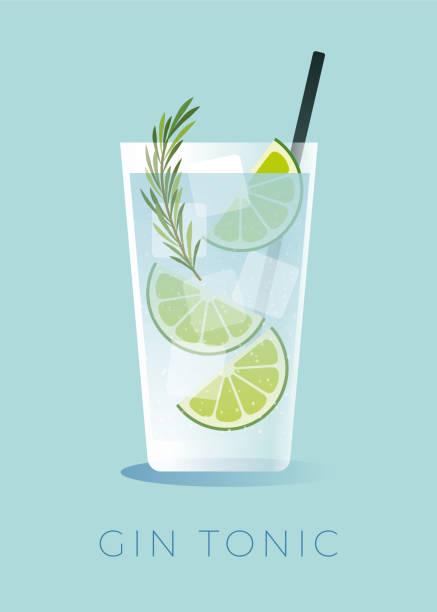 stockillustraties, clipart, cartoons en iconen met gin en tonic cocktail met limoenschijfje. - gin tonic