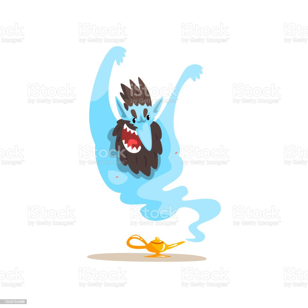 Gin coming out of magic lamp, ancient mythical creature cartoon vector Illustration on a white background vector art illustration