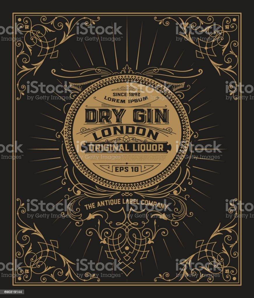 Gin label with floral frame vector art illustration