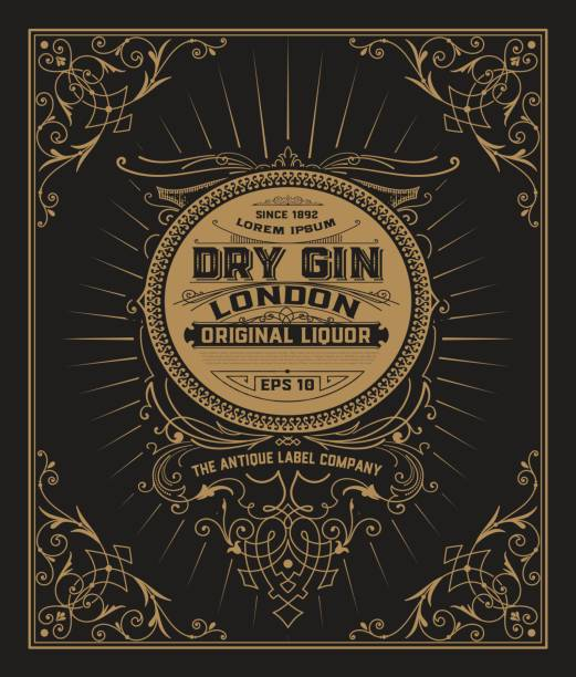 gin label with floral frame - alcohol drink borders stock illustrations