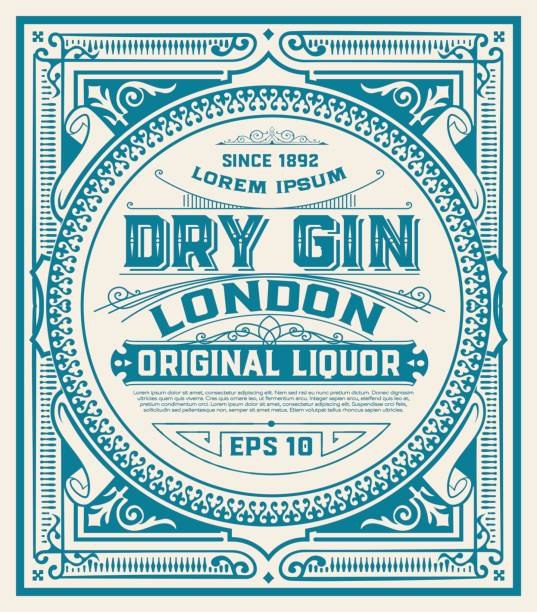 gin label with floral ornaments - alcohol stock illustrations, clip art, cartoons, & icons