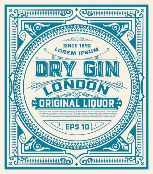 illustrations, cliparts, dessins animés et icônes de étiquette de gin avec des ornements floraux - alcool
