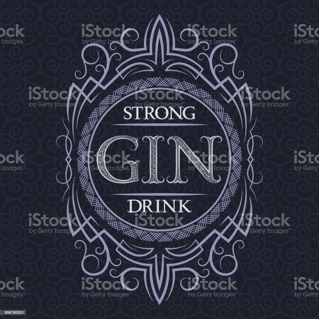 Gin Strong Drink Label Design Template Patterned Vintage Frame With Text On Pattern Background