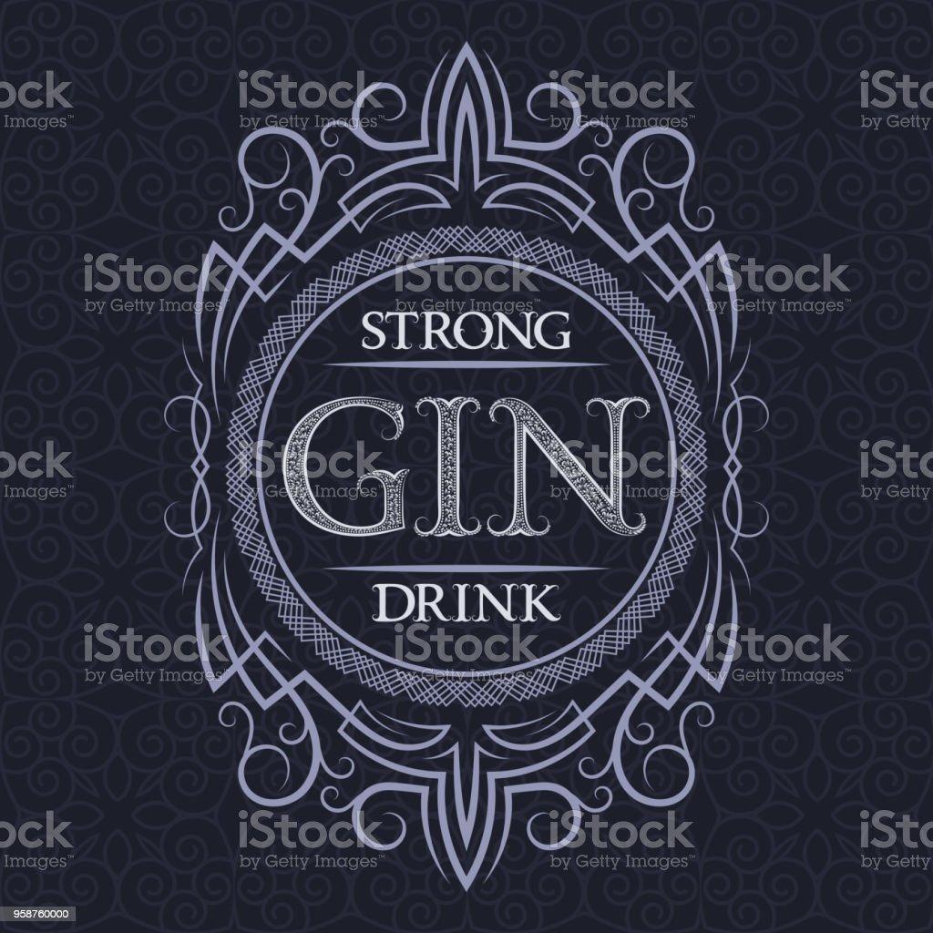 Gin strong drink label design template. Patterned vintage frame with text on pattern background. vector art illustration