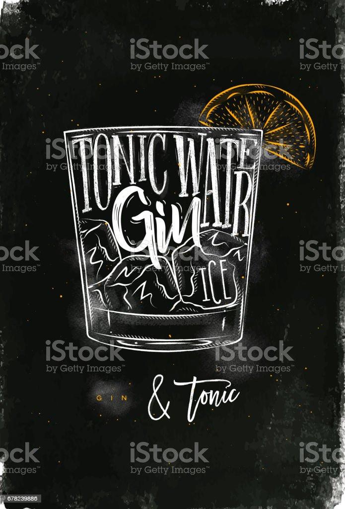 Gin tonic cocktail chalk color vector art illustration