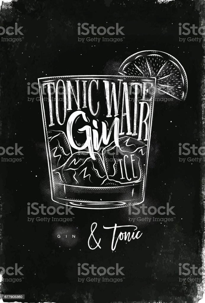 Gin tonic cocktail chalk royalty-free gin tonic cocktail chalk stock vector art & more images of alcohol