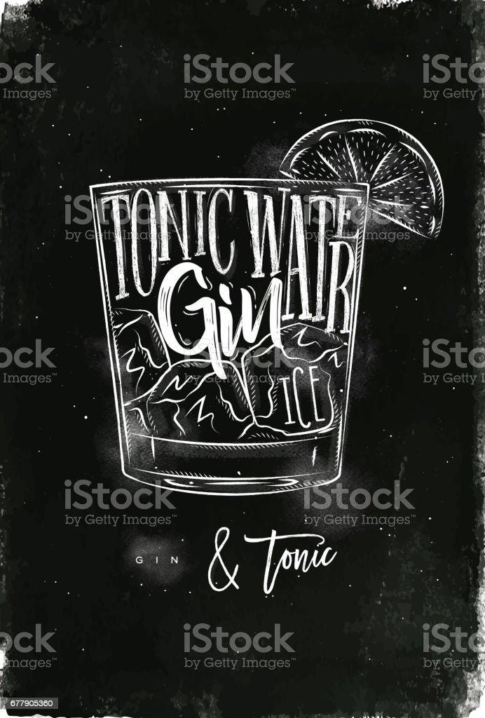 Gin tonic cocktail chalk vector art illustration