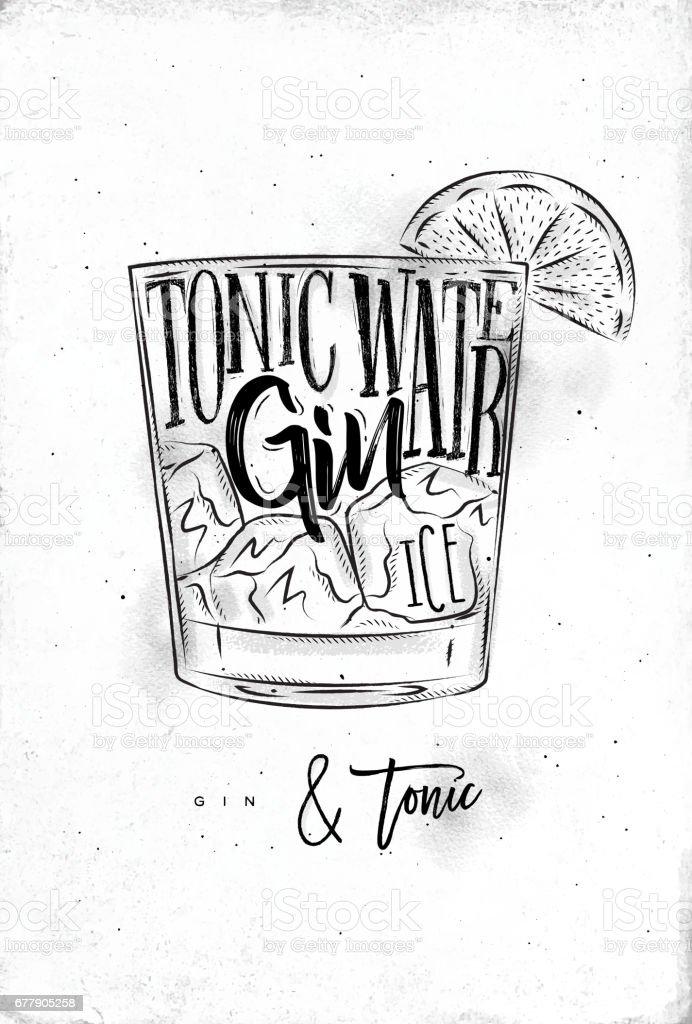 Gin tonic cocktail vector art illustration