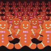 A lot of ginger men.  Ginger men army concept.
