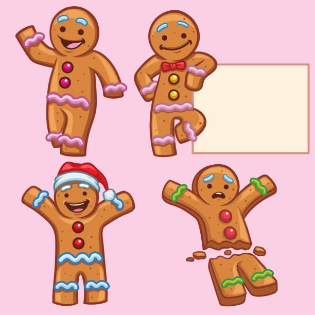 ilustraciones, imágenes clip art, dibujos animados e iconos de stock de conjunto de caracteres de pan de jengibre - gingerbread man