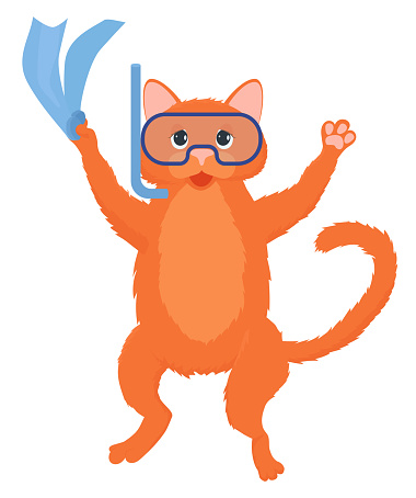 Ginger cat diver cartoon mascot isolated on white.