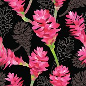 Pink Ginger flowers on black background. Vector seamless  pattern.
