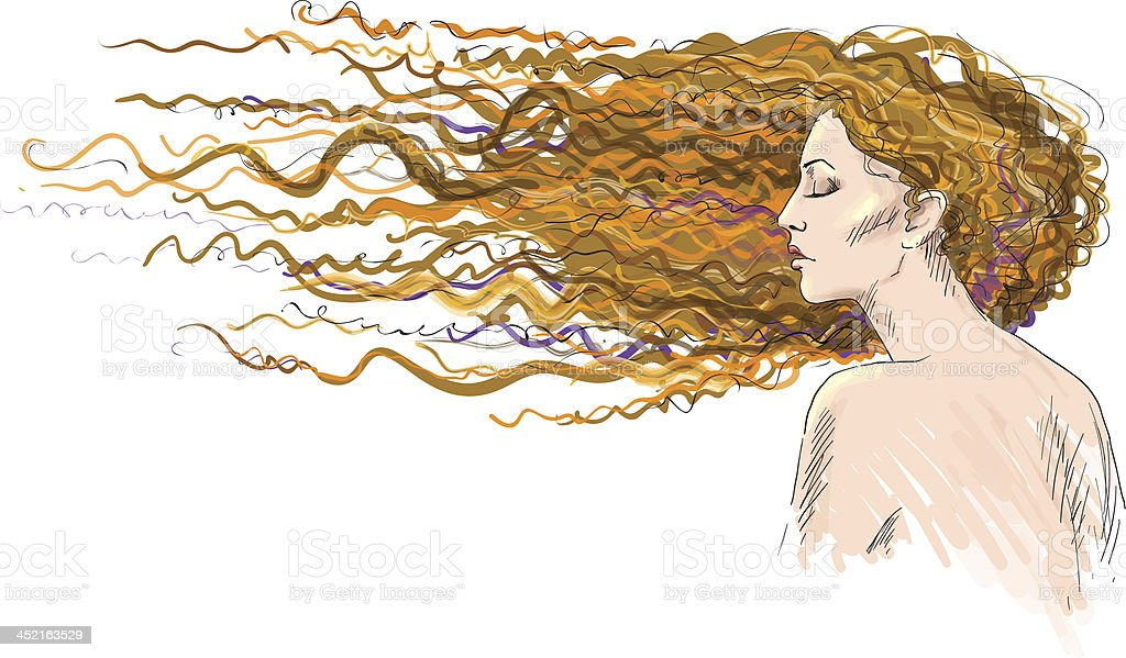 Ginger. Red-haired girl. Hair blown by the wind. royalty-free stock vector art
