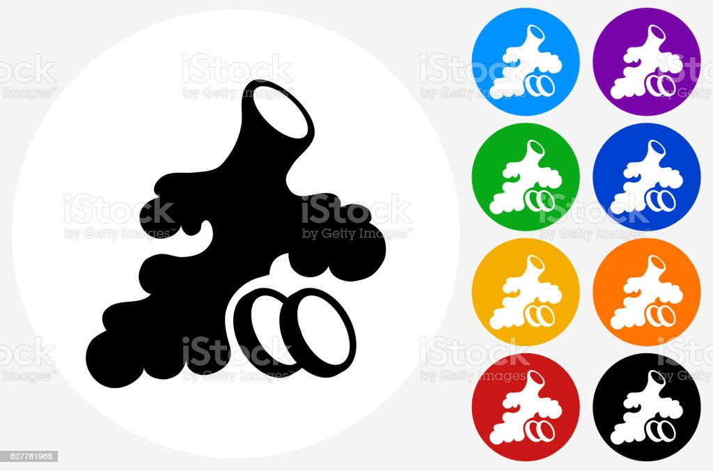 Ginger Root Icon on Flat Color Circle Buttons vector art illustration