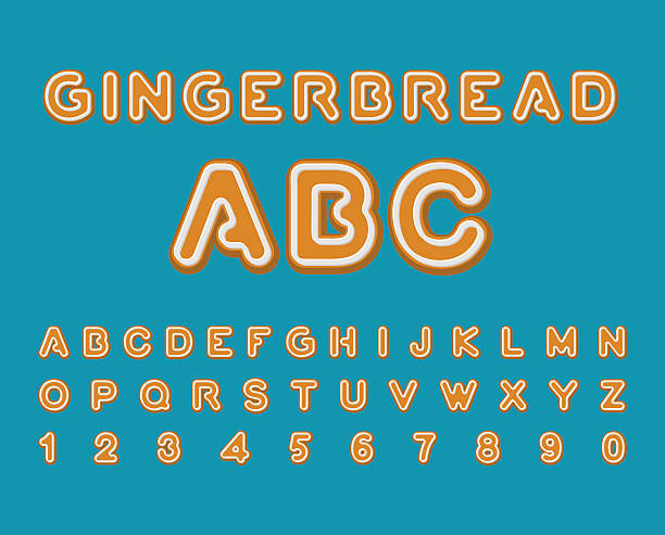 gingerbread abc. christmas cookie alphabet . mint cookies font. - gummibonbon stock-grafiken, -clipart, -cartoons und -symbole