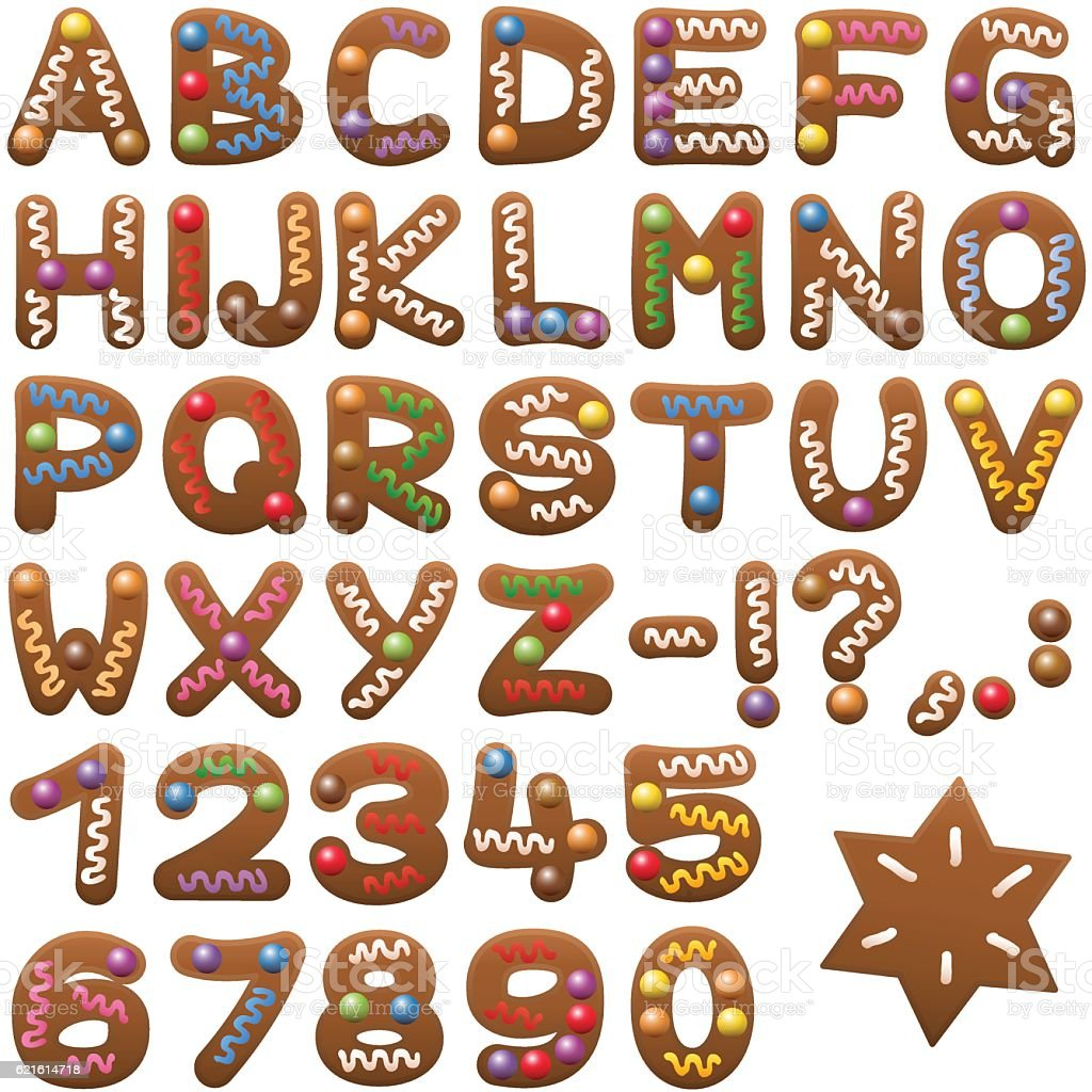 Gingerbread Alphabet Letters Font vector art illustration