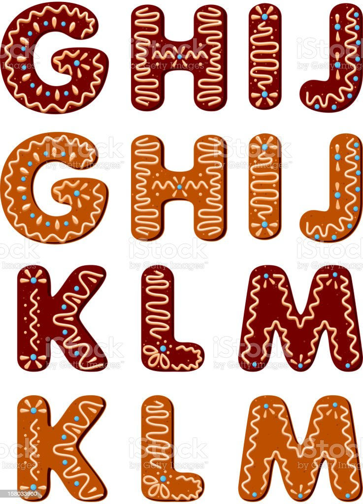 Gingerbread alphabet letters from G to M royalty-free gingerbread alphabet letters from g to m stock vector art & more images of alphabet