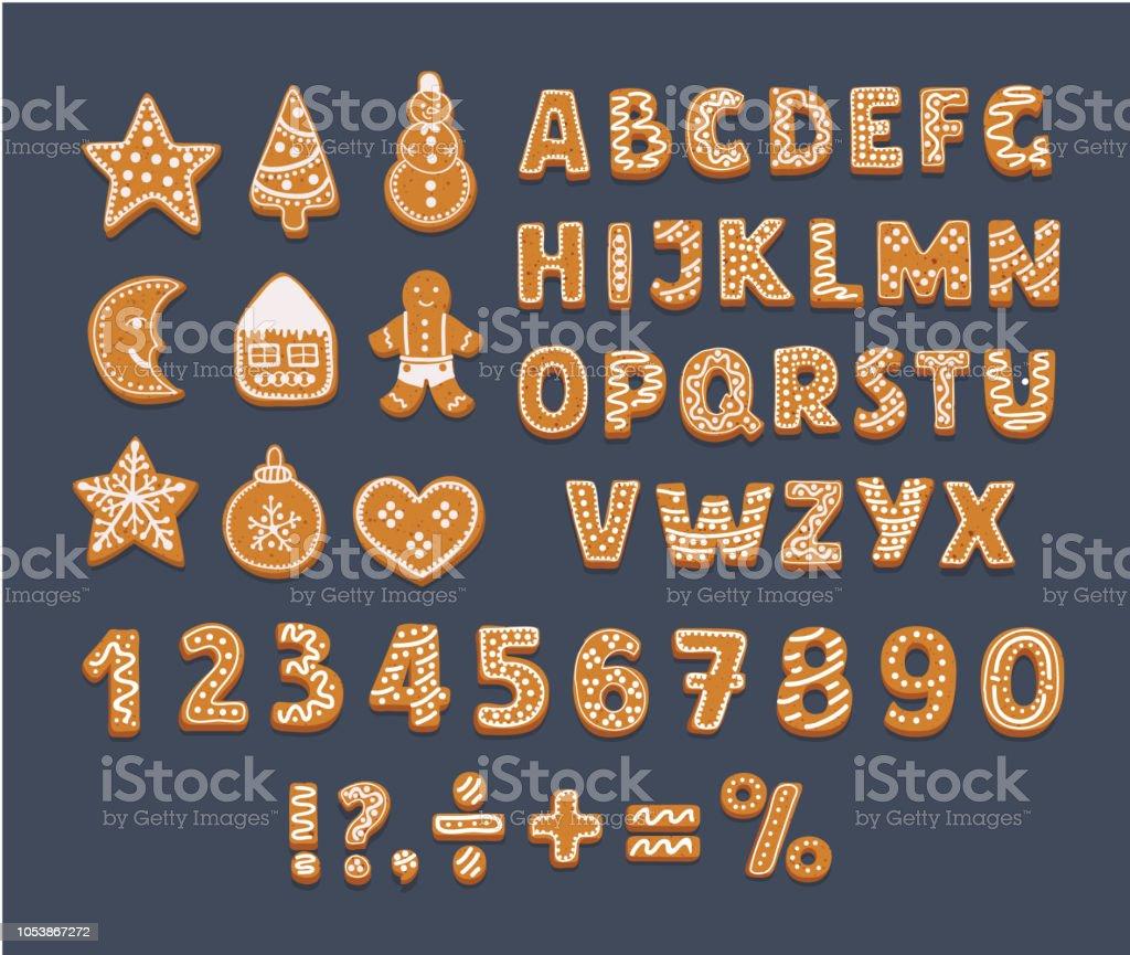 Gingerbread Alphabet on dark background. - Royalty-free Alfabeto arte vetorial