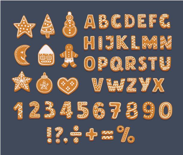 ilustrações de stock, clip art, desenhos animados e ícones de gingerbread alphabet on dark background. - christmas cookies