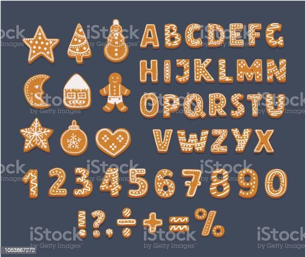 Gingerbread Alphabet On Dark Background - Arte vetorial de stock e mais imagens de Alfabeto