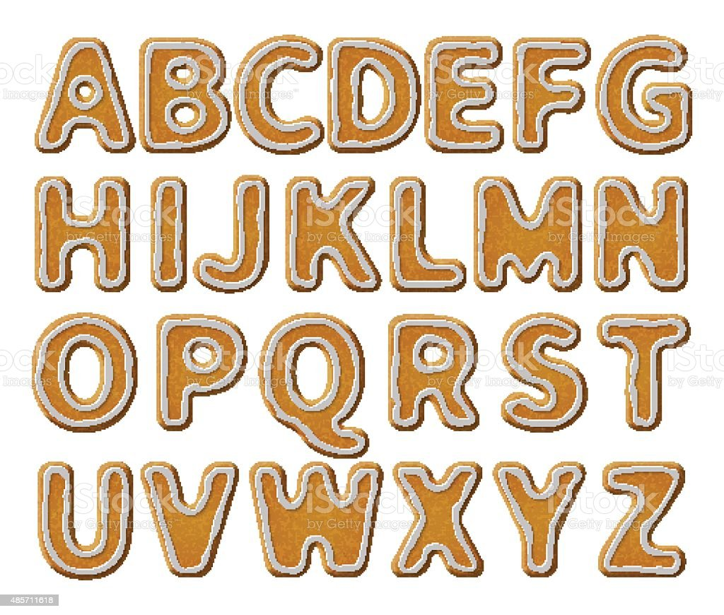 Gingerbread alphabet with glaze vector art illustration