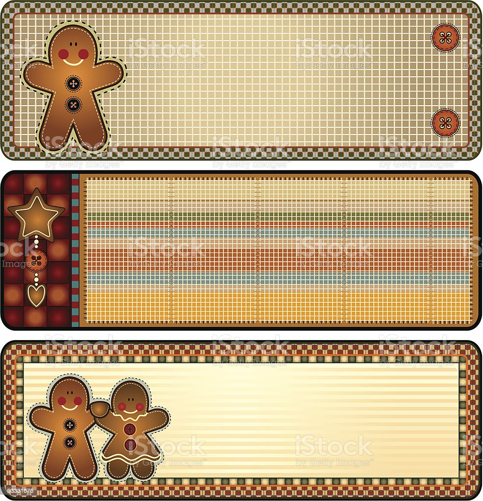 Gingerbread Biscuit Banners royalty-free stock vector art
