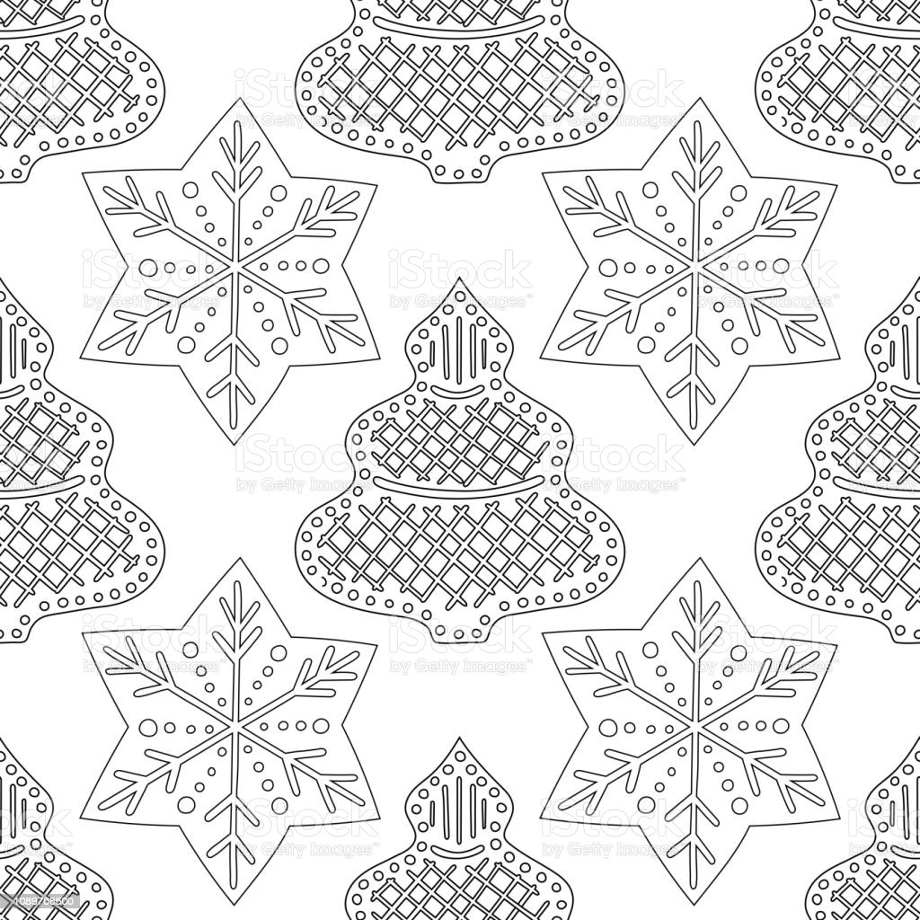 Gingerbread Black And White Illustration For Coloring Book Or Page