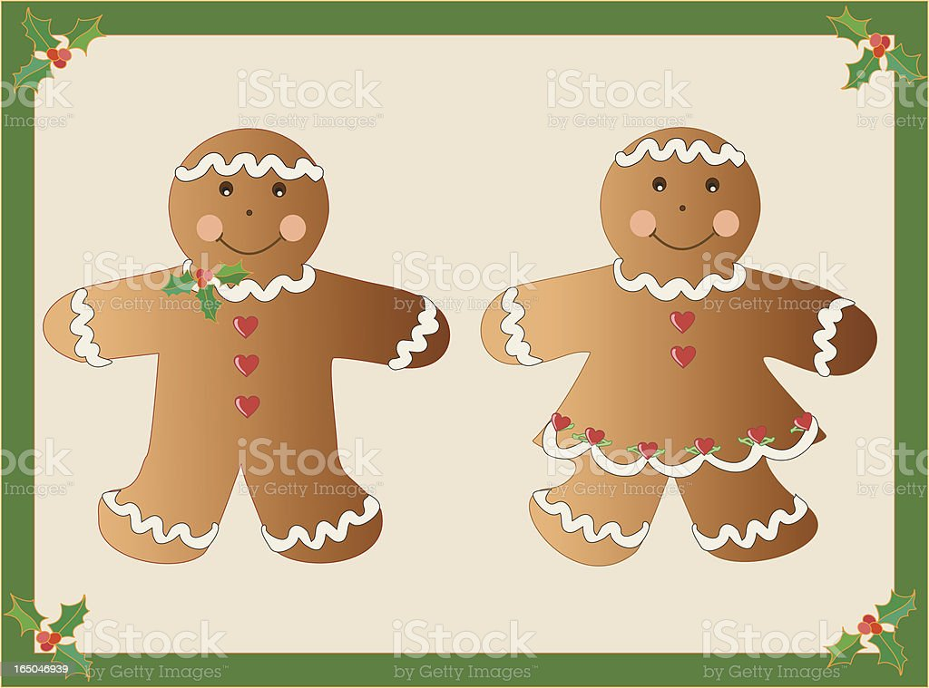 Gingerbread Boy and Girl royalty-free stock vector art