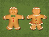 Vector file of a gingerbread boy and girl.  Easy to edit with many layers.