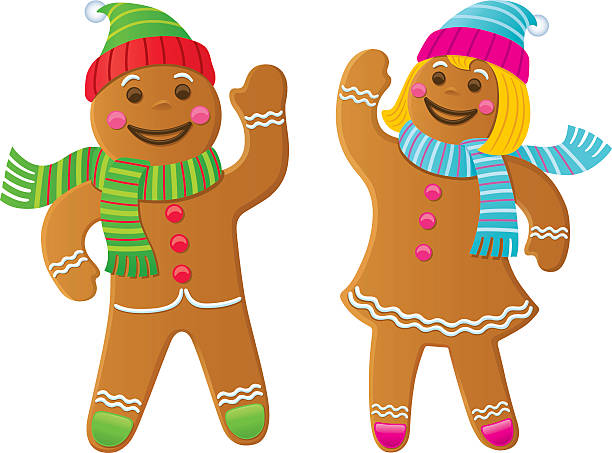 Gingerbread Boy and Girl Waving Cartoon of a gingerbread boy and girl waving while wearing knit scarves and hats. gingerbread man stock illustrations