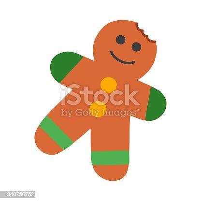 istock Gingerbread Cartoon Style Icon. Colorful Symbol Vector Illustration 1340756752