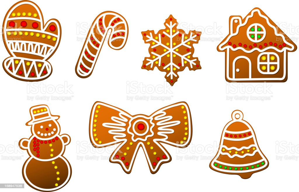Gingerbread christmas objects royalty-free stock vector art